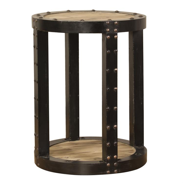Rustic Aged Wood Side Table with Black Iron Trim