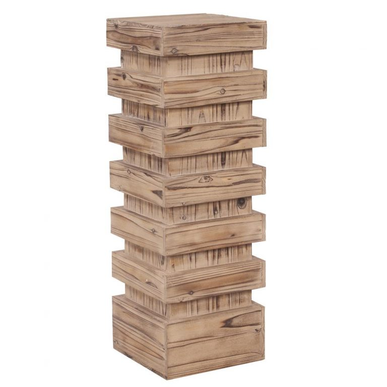 Stepped Natural Wood Pedestal Tall $50.00