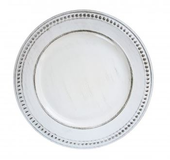 Table-top Décor – Round Charger Plates – Antique White with Beading
