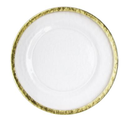 Table-top Décor – Round Charger Plates – Hammered Glass with Gold Band