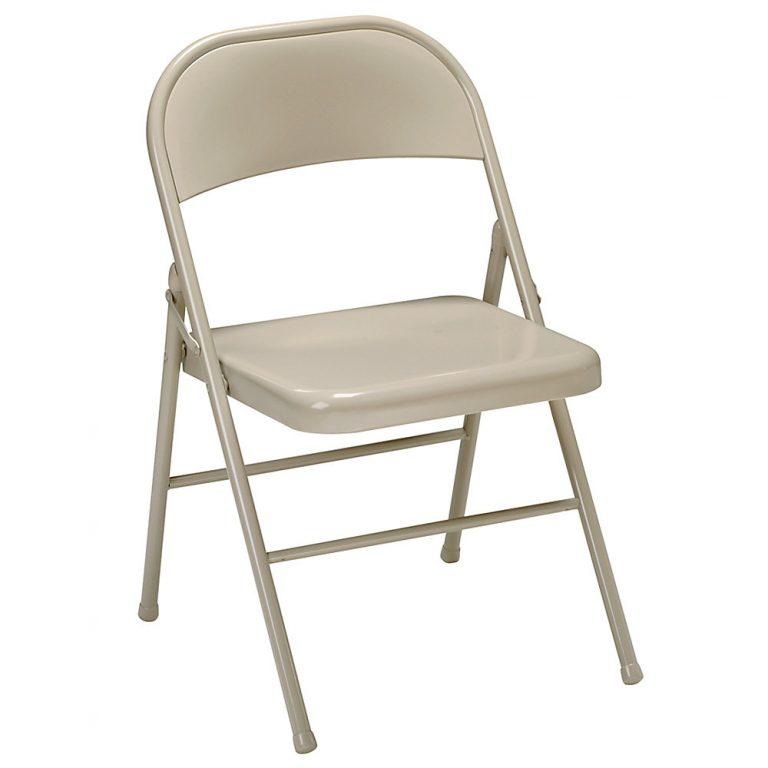Tan Folding Metal Chair – $3.00