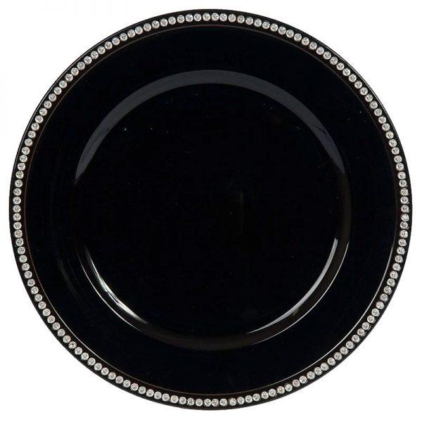 Black-Rhinestone-Charger Plate