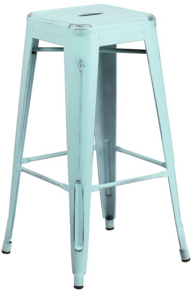 Distressed Green-Blue 30in Barstool