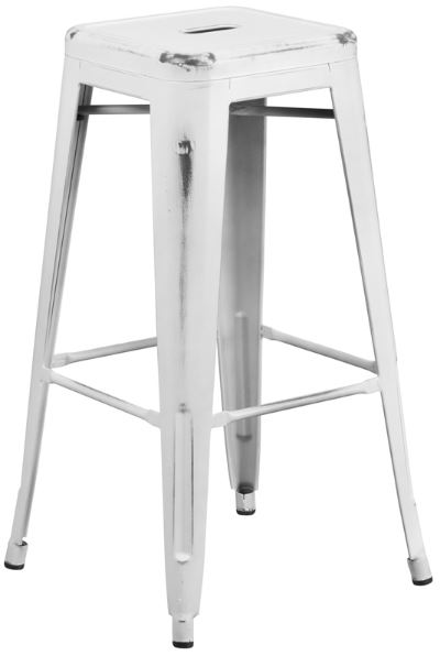 Distressed White 30in Barstool