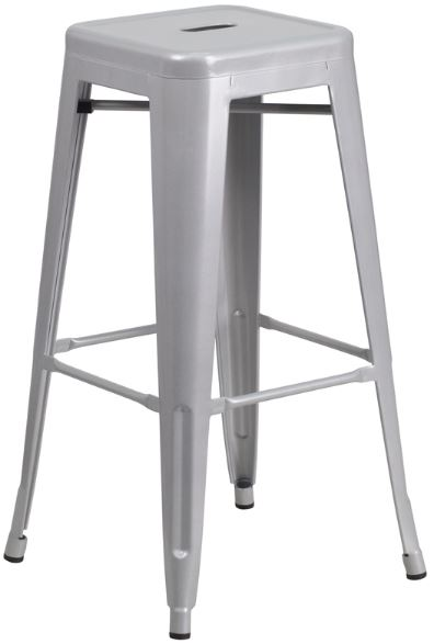 Silver Metal 30in Barstool