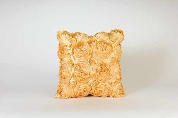 IVN521-Pillow Cover-Gold Satin Rose