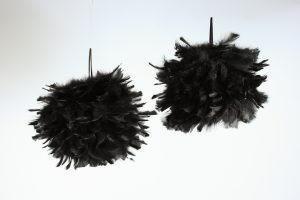 Black feather balls