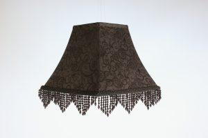 INV539-Lampshade black damask-beaded
