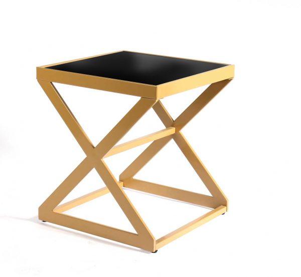 Side-Table–x-shaped-gold-frame-Black