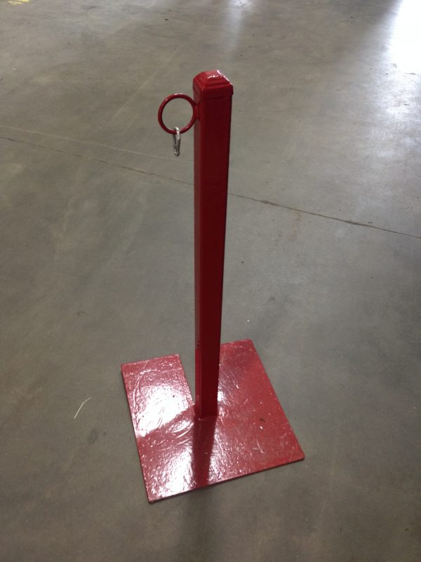 red metal stanchion