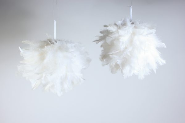 white feather balls