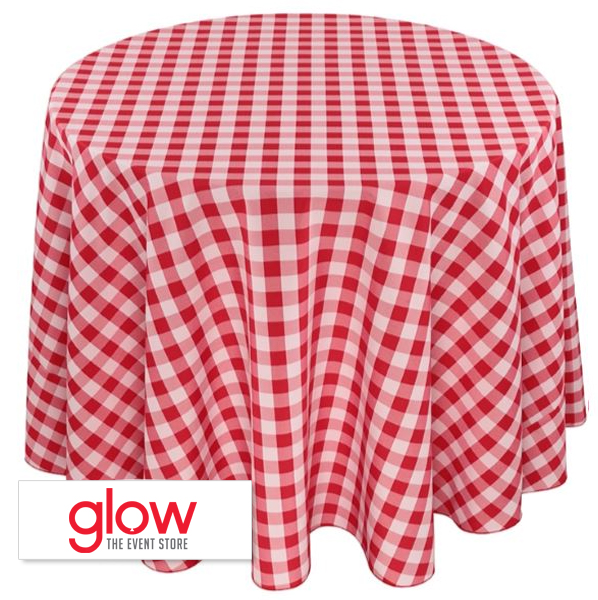 Round – Checkered – Red & White