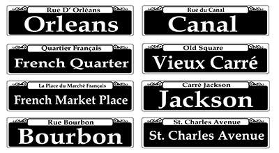 New-Orleans-Street-Signs-Set of 8 INV1008