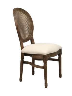 Louis XIV Chair – Round Rattan Back – Antique Finish
