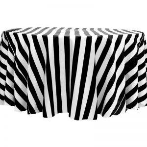 Round – Satin – Black & White 2 Inch Striped – 2