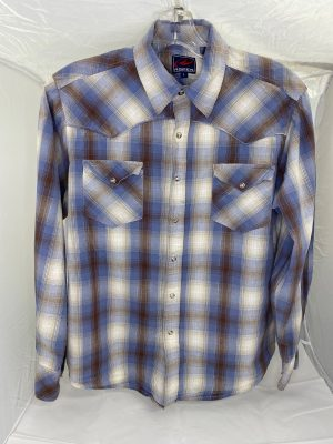 western shirt for attendants brown and blue plaid